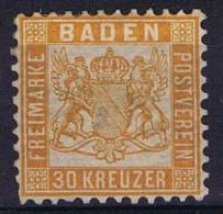 German States: Baden, Mi 22 A MH No Gum (*)
