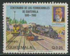 Guatemala 1983 Mi 1217 Aero ** General Barrios And Trains At Station / Lokomotiven – Cent. Guatemala Railway - Treinen