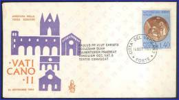 VATICANO APERTURA III SESSIONE CONCILIO ECUMENICO VATICANO II 14.SET.1964 FRANCOBOLLO: MISERICORDIA N. 286 SASSONE L. 15 - Brieven En Documenten