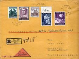 Österr.1958, Nachnahme R-Brief Von Wien Nach Hannover, Seltene 5 Fach Frankierung - 1945-60 Briefe U. Dokumente