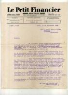 - LE PETIT FINANCIER . LETTRE A ENTETE DE 1942 . - Printing & Stationeries