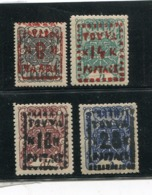 TANNU TUVA YR 1927,SC 11-14,MNH **,WHEELS OF TRUTH,SURCHARGED - Tuva
