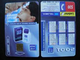 Chip Phone Card From Mexico, Ladatel Telmex, Nivea Men, Calendar On Back Side 2001 - Mexico