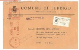 TURBIGO  20029  PROV. MILANO  - ANNO 1980  - AMR R  - STORIA POSTALE DEI COMUNI D´ITALIA - POSTAL HISTORY - Affrancature Meccaniche Rosse (EMA)