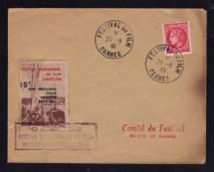 """FRANCE / Enveloppe Avec Cachet Commémoratif + Vignette """" Festival Du Film à CANNES """" Septembre - Octobre 1946 - Cinéma"""