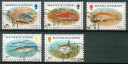 Guernsey  1985  Fische  (5 Gest. (used) Kpl. )  Mi: 314-18 (6,50 EUR) - Guernesey