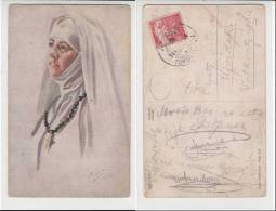 Art Painted INGRID RUIN Andacht Andakt Prayer Portrait Abbess Old Vintage PC Us 1918 / 13559 - Paintings
