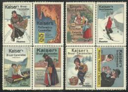 Lot Of 8 Old Original German Poster Stamp (advertising Cinderella) Kaiser´s Ship Sailing Skiing Schiff Segeln Skifahren - Ski