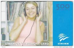 Iceland, ICE-C-03.1, 1000 Kronur,Girl Listening To Music, 2 Scans. - Iceland