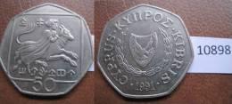 Chipre 50 Centimos 1991 - Monedas
