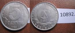 Alemania Comunista , RDA , DDR , 5 Pfennig 1968  A - Münzen
