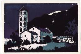 Principauté D'ANDORRE - Santa Coloma - Eglise Romane Du XII Siècle -CPSM - Velour Fluo - - Andorra