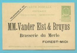 Entier Met Repiquage  MM VANDER ELST & BRUYNS / BRASSERIE DU MERLO / FOREST-MIDI - Entiers Postaux