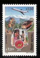 NEPAL, 1994, Postal Service, 1 V,Airmail, Aeroplane, Postman, Bus, Letter, Telegram, MNH, (**) - Post