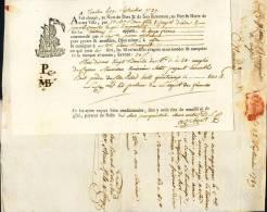 Connaissement - Lettre De Voiture - Toulon Pour Agde - 1789 + LAC Attenante Par Cire - ... - 1799
