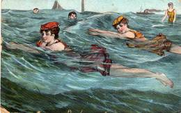 Nageuses En 1900(Bord Inférieur Un Peu Usagé) - Femmes