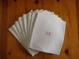 8 Grandes Serviettes  Lin Blanc Damassé Fleuri Monogrammé J.S  Dans Médaillon Hirondelles . V. Photos. - Habits & Linge D'époque