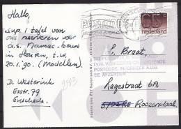 Nederland 1989 Kaart Van Enschede Naar Roosendaal Met Stempel Vertraagd Verkeerde Postcode. - Periode 1980-... (Beatrix)