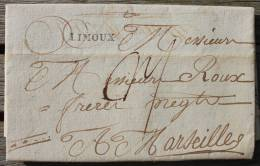 Lettre Marque Postale De Limoux Pour Marseille - Marcophilie (Lettres)