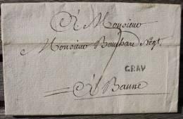 Lettre Marque Postale De Gray Pour Beaune - Postmark Collection (Covers)