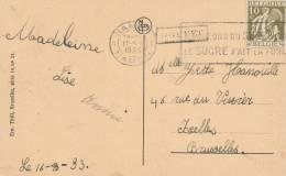 096/20 - Carte-Vue Houyet TP Cérès NAMUR 1933 Vers IXELLES - Griffe Encadrée De Gare HOUYET - Poststempel