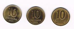 ARGENTINA  3 X 10  CENTAVOS  1992/1993/2004 - Argentine