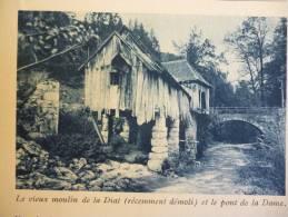 Pays De Chartreuse , Le Vieux Moulin De La Diat Et Le Pont De La Dame , Héliogravure Sépia Bleue 1931 - Documents Historiques