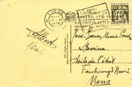 098/20 - Carte-Vue LOGNE TP Cérès LIEGE 1936 Vers MONS - Griffe Encadrée De Gare SY - Poststempel