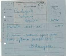 114/20 - TELEGRAMME BRUXELLES 1945 Vers HANNUT - Cachet TT Télégraphique Et Poste à L´ Arrivée - Télégraphes