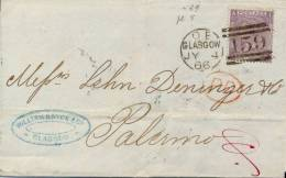 Great Britain 1866 Cover From Glasgow To Palermo (Italy) Franked With 6 Pence Plate Number 5 Cancel 159 - 1840-1901 (Regina Victoria)