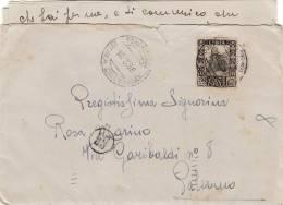 BENGASI  /  PALERMO  10.3.1938  -  Cover _ Lettera  -  Centesimi  50  Isolato - Storia Postale