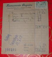 BARCELONA, 1 Petite Facture De RESTAURANT : Restaurante Anguera, Ronda San Pedro 12, 19.7.1958. - España