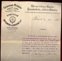 Ancienne Facture Equipements Militaires Petitfils Bailhache & Chardon Succ Paris En 1909    Let3 - Documents