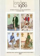 HOJA BLOQUE DE 4 SELLOS DEL REINO UNIDO INTERNATIONAL STAMP EXHIBITION LONDON 1980 NUEVOS SIN USAR - Hojas & Múltiples