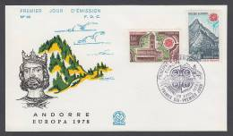 CEPT Europa - FDC 1978 - Andorra (France) - MiNr. 290-291 - Europa-CEPT
