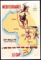 REPRODUCTION Affiche Coloniale Rallye Méditérranée - Le Cap 1956 - R.J. IRRIERA - Cheval - Horse - Dromadaire - Camel - Scènes & Types