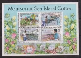 Montserrat 1985 Cotton Flower Industry Miniature Sheet Specimen Overprint MNH - Montserrat