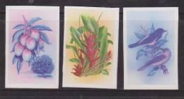 Montserrat 1985 National Emblem Set 3 Imperforate Vignette Separation Plate Proofs MNH Bird Flower - Montserrat
