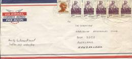 Envelope Roughly Opened 3 Sides & Tears Ghandi 1 Rupee & 5 X 2 Rupee Stamps To New Zealand - Covers & Documents