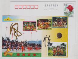Gong And Drum Dancing,China 2002 Wuzhishan Li Nationality National Customs Tourism Pre-stamped Card - Dance