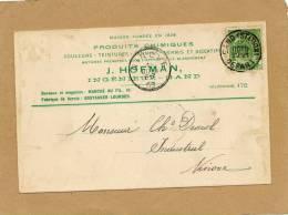 Carte Document Produits Chimiques J. Hofman Ingénieur Gand 1903 Gand Station Départ à Ninove - 1893-1907 Wappen