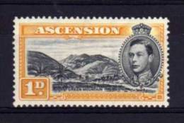 Ascension Island - 1940 - George VI 1d Definitive (Perf 13½) - MH - Ascension (Ile De L')