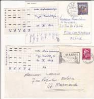 Lot De 2 Lettres Avec Marques D'indexation De Tri Code Alphanumérique Type AUSTERLITZ 1 1966 + 1969 Cheffer - Marcophilie (Lettres)