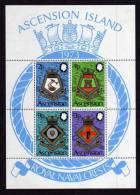Ascension Island - 1973 - Naval Crests Miniature Sheet (5th Series) - MNH - Ascension (Ile De L')
