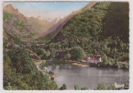 (RECTO / VERSO) AX LES THERMES - LE LAC ET LE MANOIR D' ORGEIX - BELLE FLAME POSTALE AU VERSO AVEC TRUITE - Foix