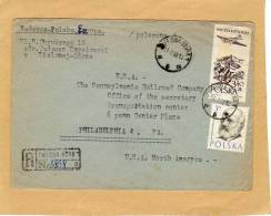 Enveloppe Brief Cover Zielonej-Gorze To USA Philadelphia Recommanded Zielgna Gora - 1944-.... Republik