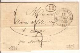 LETTRE DE PERPIGNAN CACHET AVEC FLEURON 1838 - 1801-1848: Precursors XIX