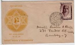 Inde FDC 1964 - Sri Aurobindo - Bombay 15-8-1964 - FDC