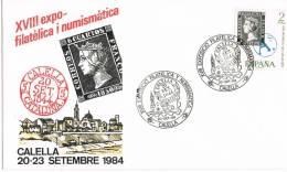 Carta Exposicion CALELLA (Barcelona) 1984. 6 Cuartos - 1931-Hoy: 2ª República - ... Juan Carlos I