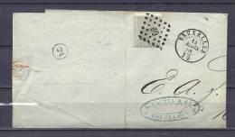 Nr 17 Op Brief Van Bruxelles Naar Malines 14/03/1868 - L 60 Bruxelles (GA5026) - 1865-1866 Profil Gauche